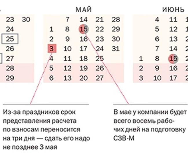 календарь сдачи документов